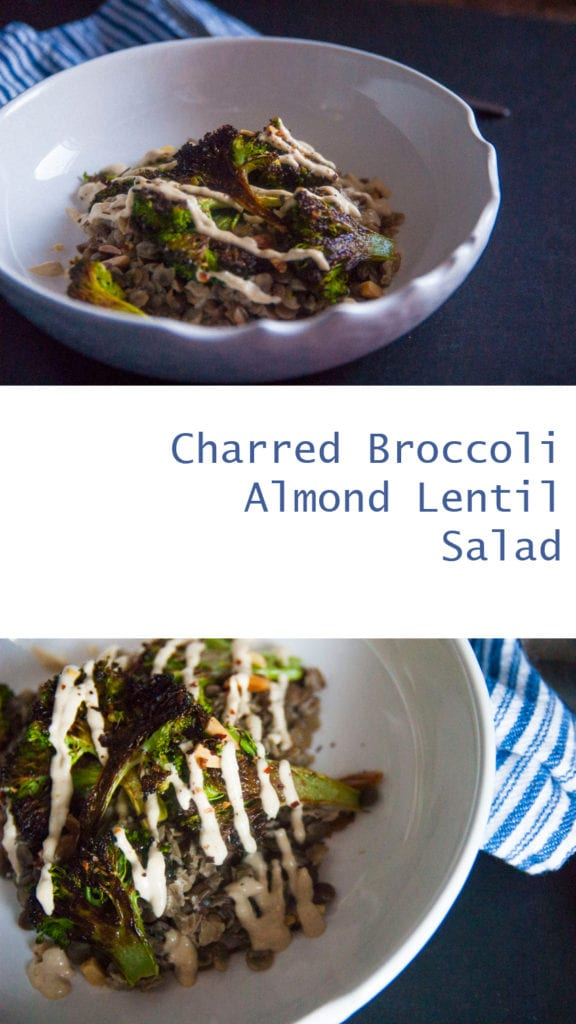 Charred Broccoli Almond Lentil Salad-The Seasonal Junkie- Click for your new go to favorite lunch!