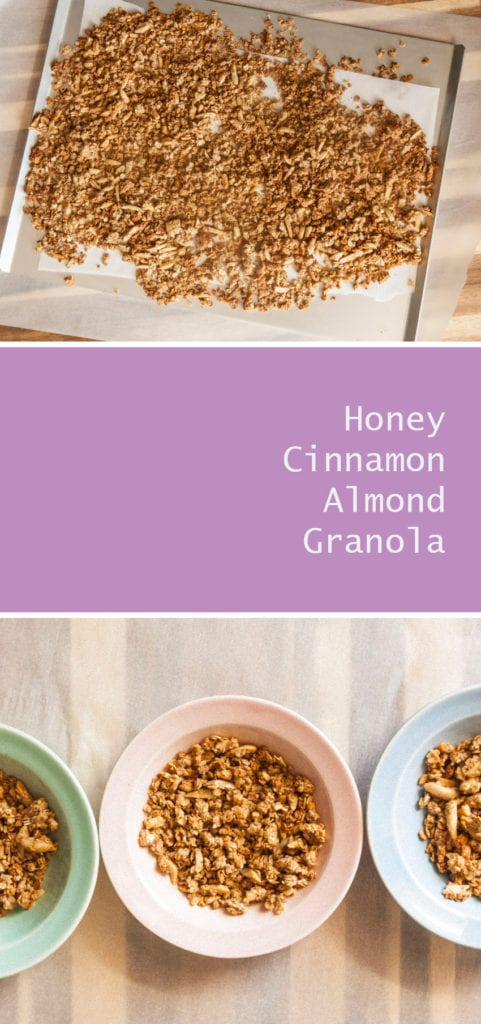 Honey Cinnamon Almond Granola- This granola recipe is super easy and a delicious breakfast topping!