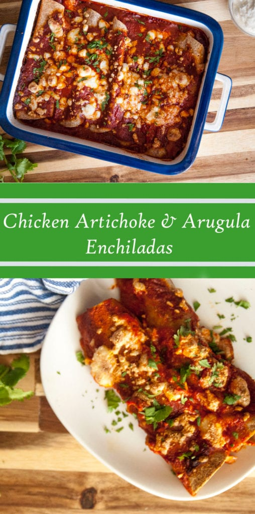 Chicken Artichoke and Arugula Enchiladas- The Seasonal Junkie