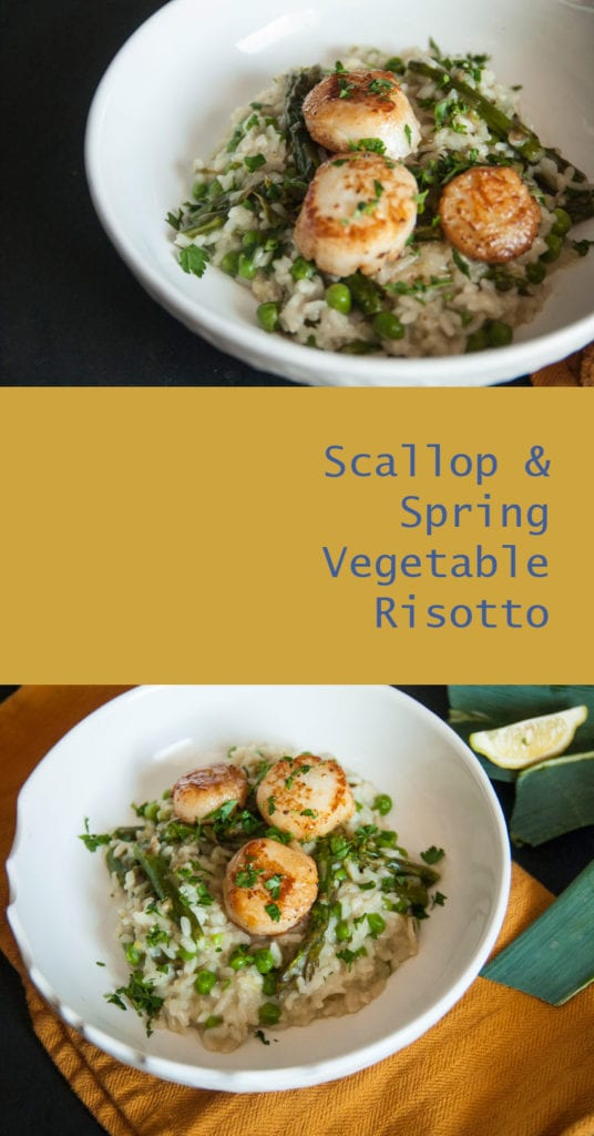 Spring Vegetable Risotto with Seared Scallops - The Seasonal Junkie