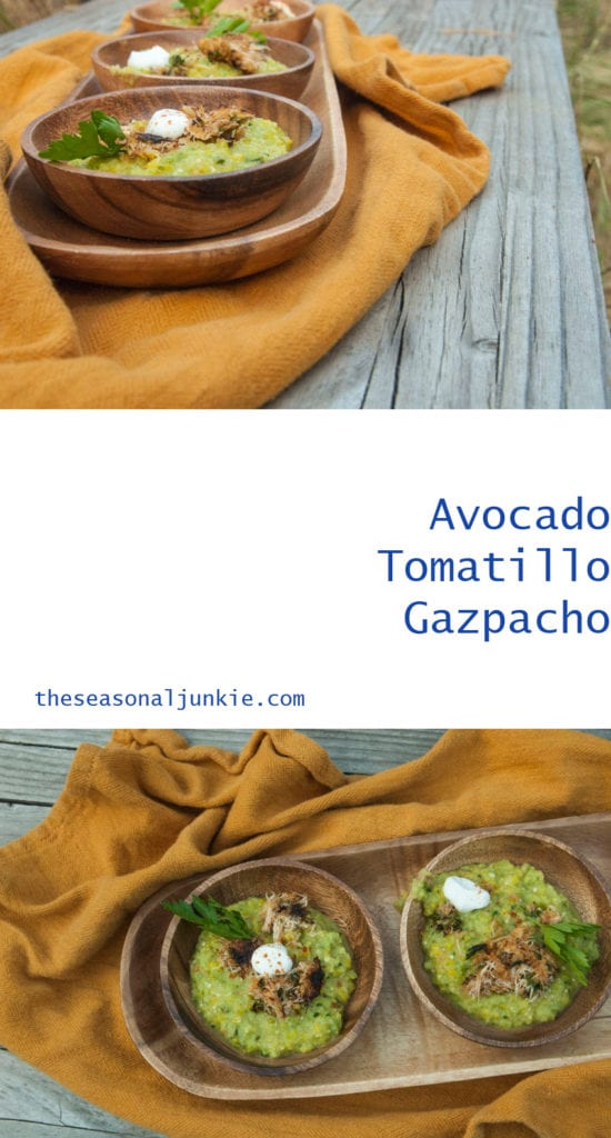 Avocado Tomatillo Gazpacho - The Seasonal Junkie