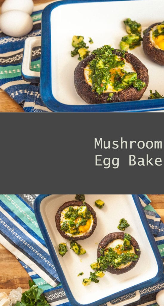Mushroom Egg Bake- The Seasonal Junkie Eggs Stuffed in Portobello Mushrooms Topped with an Avocado Chimichurri Sauce