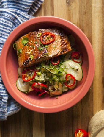 Asian Cucumber Salad with Miso Marinated Salmon- The Seasonal Junkie