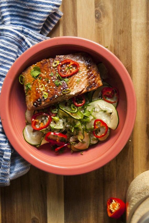 Asian Cucumber Salad with Miso Marinated Salmon- The Seasonal Junkie