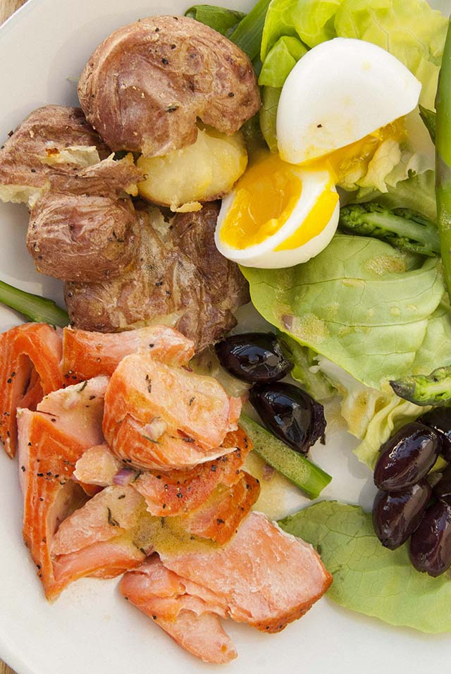 Baked Trout Filet on Nicoise Salad - The Seasonal Junkie