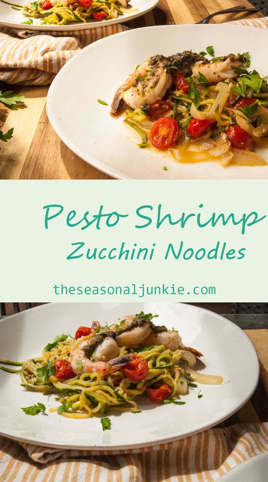 Pesto Shrimp Zucchini Noodles-The Season Junkie