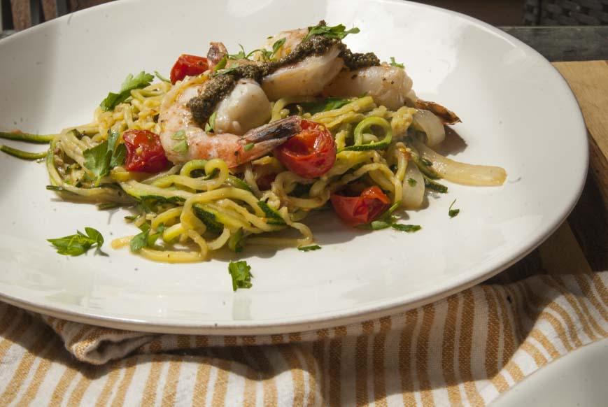 Pesto Shrimp Zucchini Noodles - The Seasonal Junkie