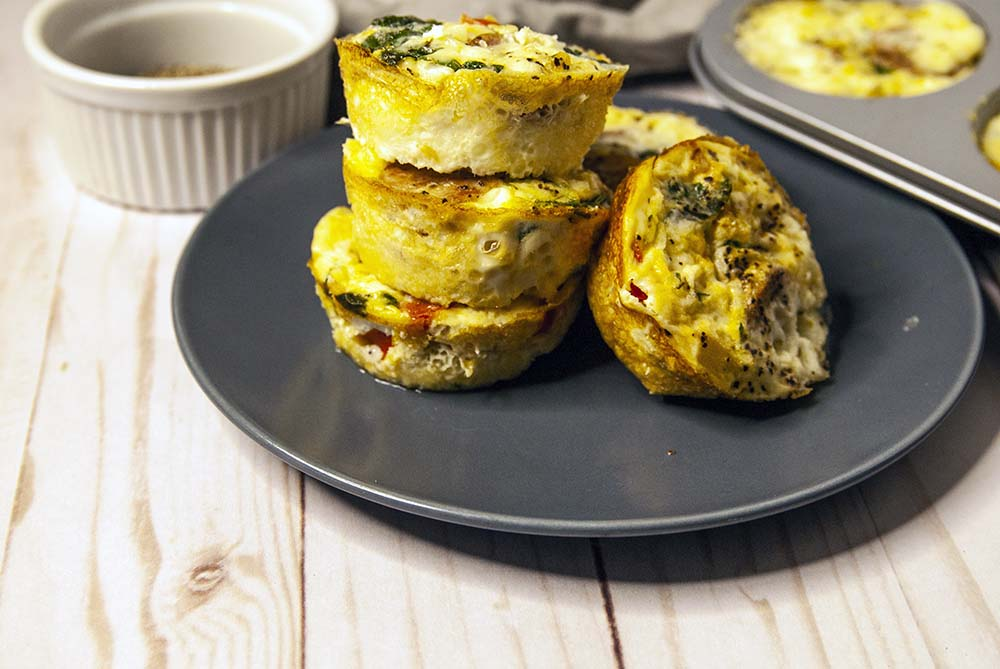 Stacked Egg Muffins on blue plate