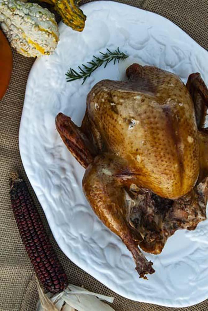 Smoked Turkey on White Platter