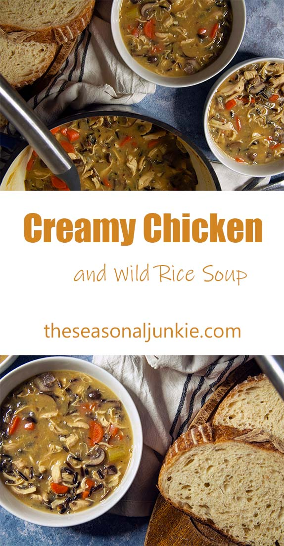 Creamy Chicken and Wild Rice Soup- The Seasonal Junkie