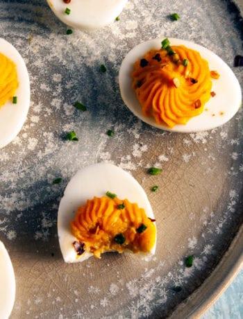Sriracha Deviled Egg Appetizers-The Seasonal Junkie
