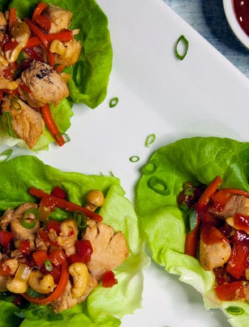 Whole30 Cashew Chicken Lettuce Wraps- The Seasonal Junkie