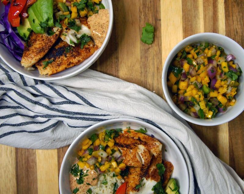 Whole30 Fish Taco Bowl with Cilantro Lime Cauliflower Rice