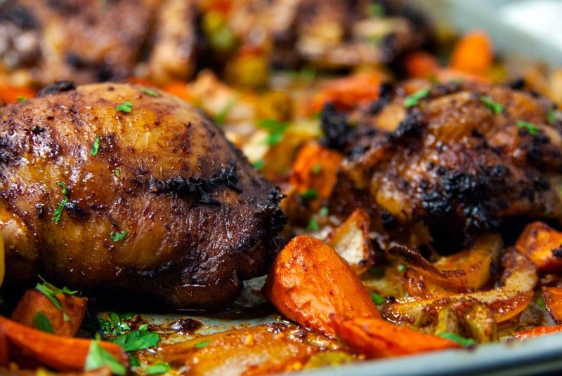 Harissa Chicken Thighs with Roasted Veggies- The Seasonal Junkie
