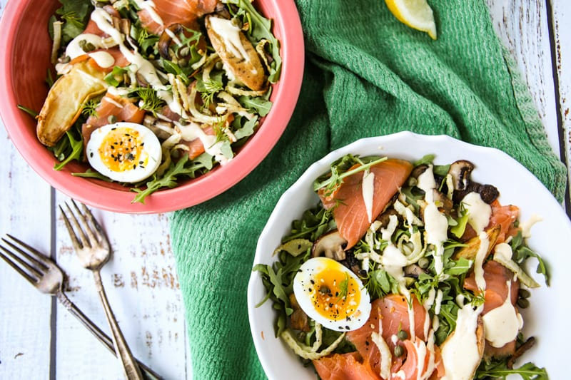 Salmon Benedict Arugula Breakfast Salad- The Seasonal Junkie