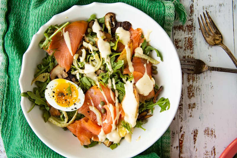 Salmon Benedict Arugula Breakfast Salad- The Seasonal Junkie