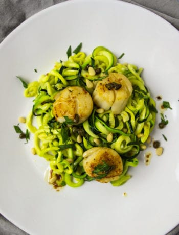 Brown Butter Scallops with Roasted Zoodles