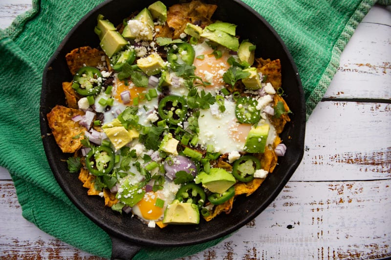 Chilaquiles Verde in Cast Iron Skillet