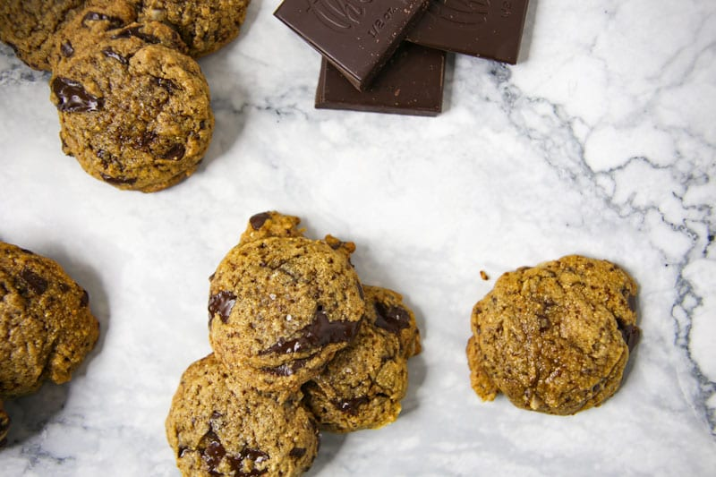 Chocolate chip cookies with marble background and chocolate squares