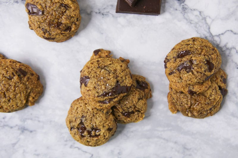 Chocolate Chip Cookies with Marble Background and Dark Chocolate
