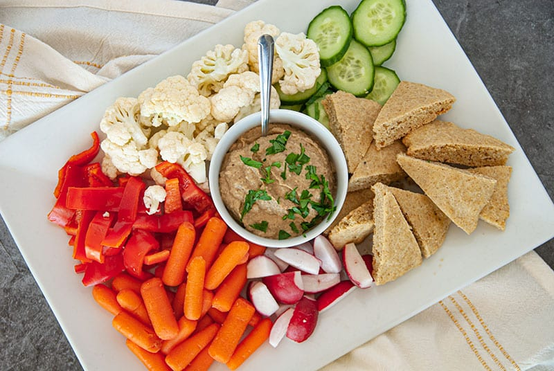 Veggie Tray with roasted eggplant dip