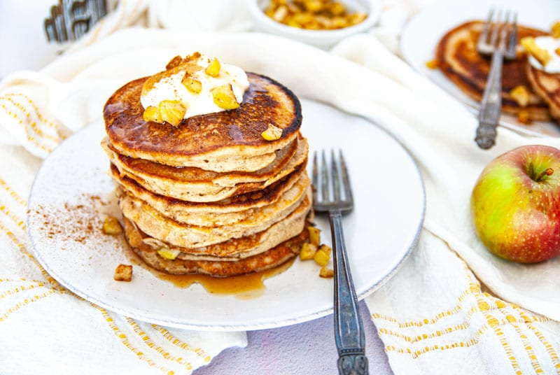 Stack of grain free apple cinnamon pancakes