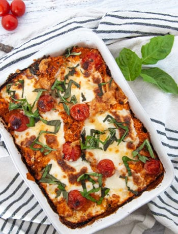 Caprese Casserole on white background