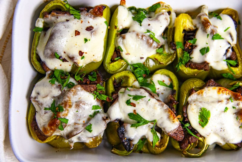Casserole Dish with 6 Philly Cheesesteak stuffed peppers