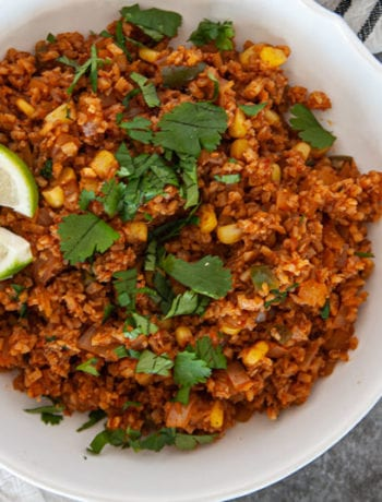 Close up of overhead Mexican Cauliflower RIce