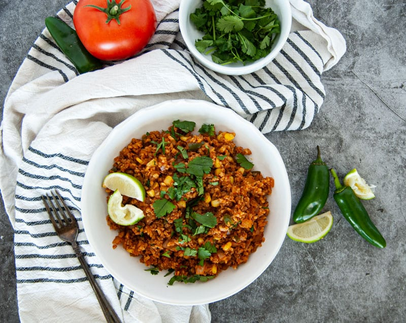 Overhead Shot of Cauliflower Mexican Rice with Tomatoes and Jalepenos