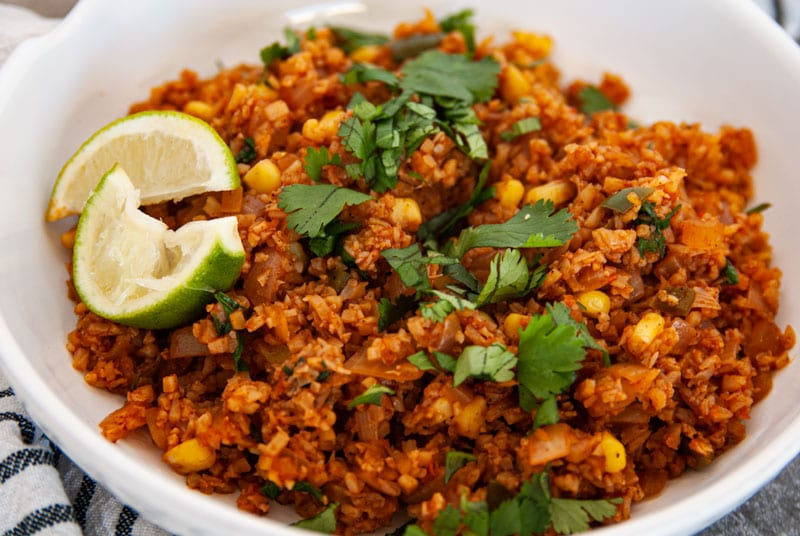 Close up of side Mexican Cauliflower RIce