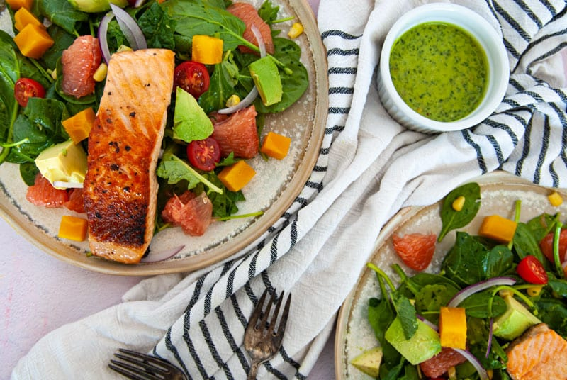 Overhead view of Salmon Avocado Salad with Grapefruit Vinaigrette