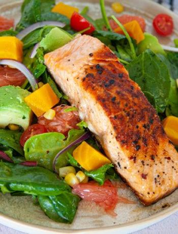 Close up of Salmon Avocado Salad