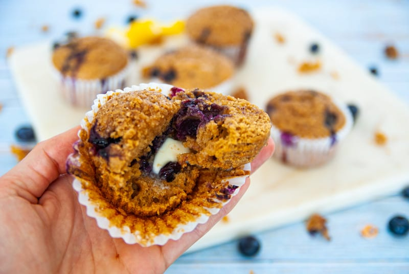Close up of Whole Grain Blue Berry Muffins