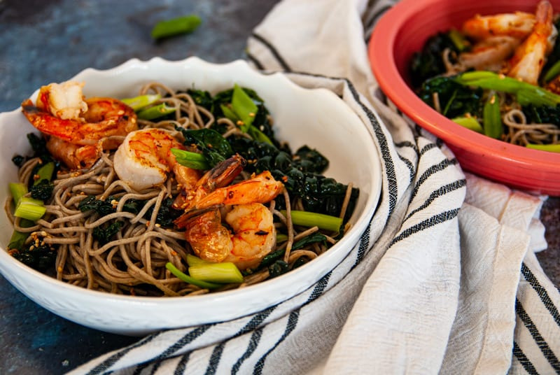 Side shot of Sesame Kale Cold Soba Noodle Salad with Shrimp