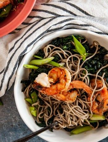 Overhead shot of Sesame Kale Cold Soba Noodle Salad with Shrimp