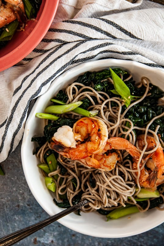 Overhead shot of Sesame Kale Cold Soba Noodle Salad with Shrimp