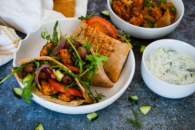 Three Pita Pockets with Sheet Pan Chicken Shawarma