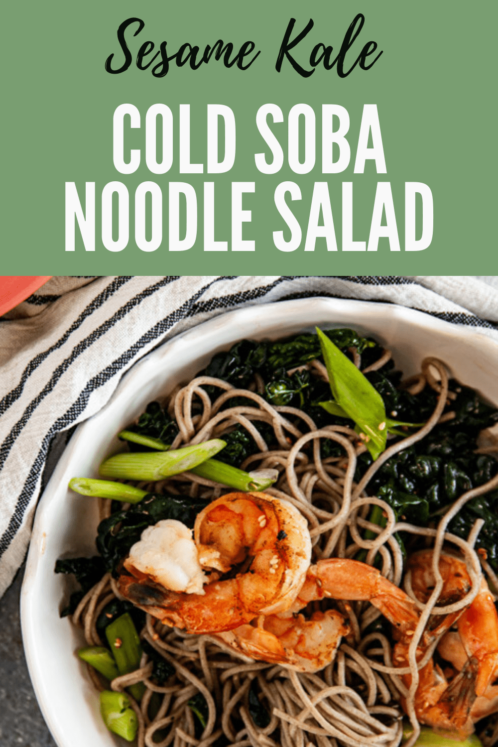 This Sesame Kale Cold Soba Noodle Salad is perfect for a hot summer day!