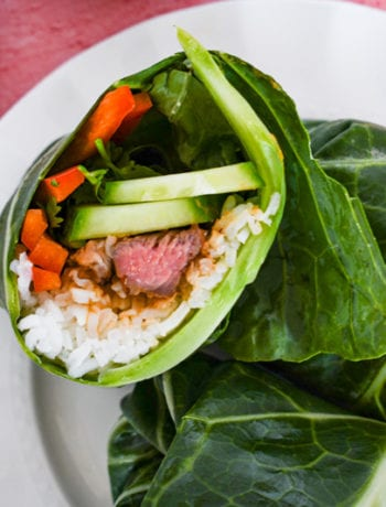 Close up overhead view of Korean Beef Collard Green Wraps