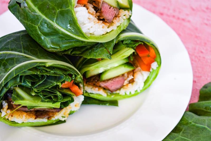 Close up side view of Korean Beef Collard Green Wraps
