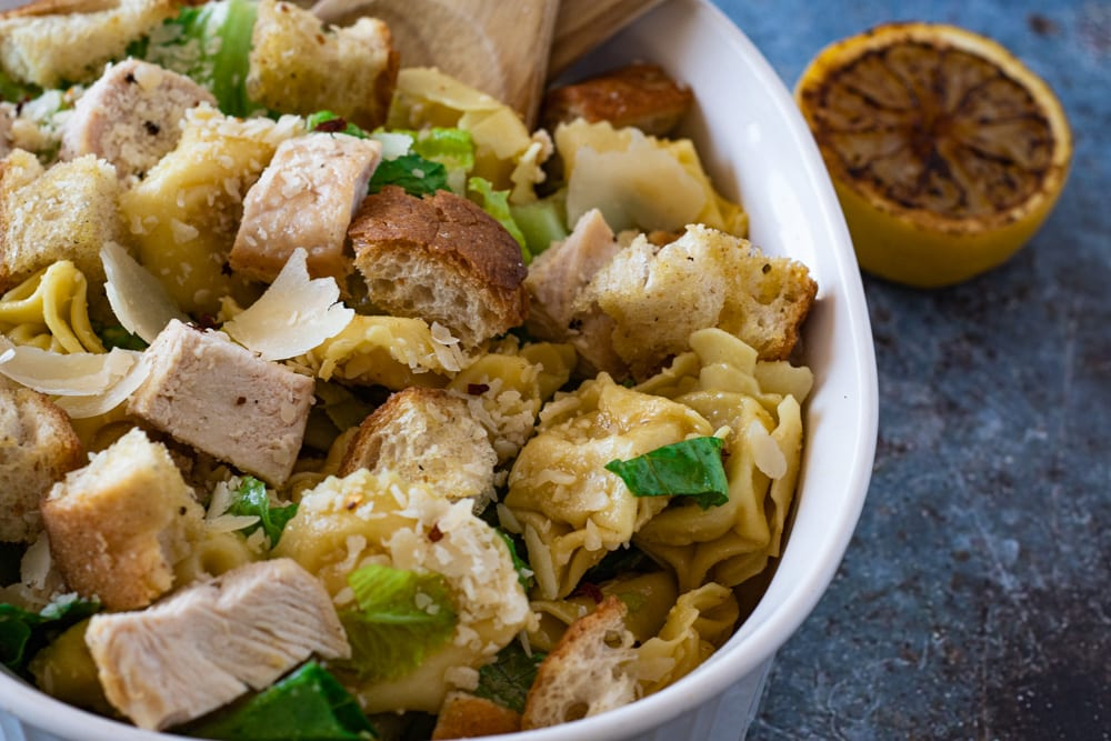 Up Close Photo of Caesar Tortellini Salad