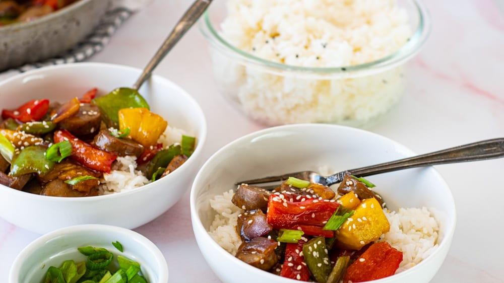 Shot of Chicken Sausage Hawaiian Bowl with homemade teriyaki over rice