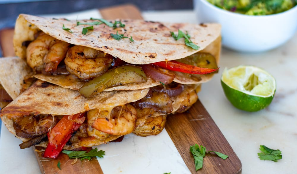 Stacked quesadillas with shrimps showing
