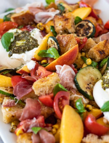 Overhead shot of summer panzanella salad with homemade croutons