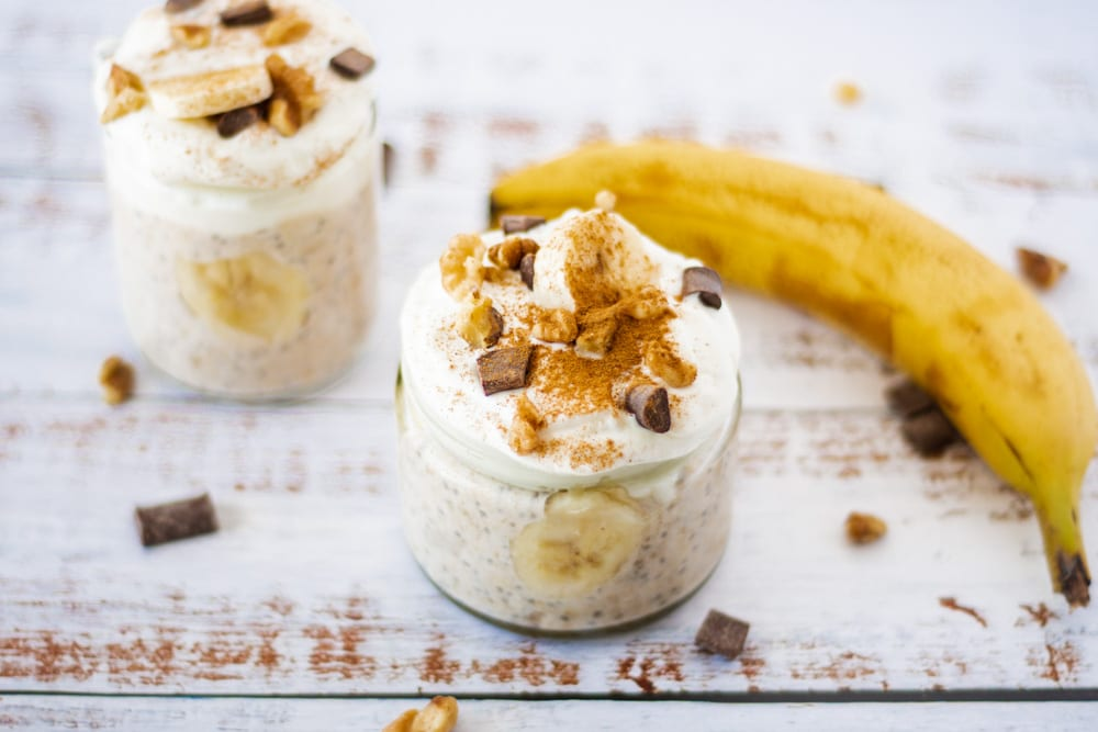 Banana Bread Overnight Oats view of two jars