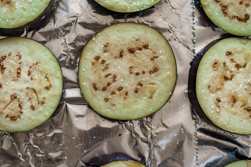 Cut Eggplants with Salt on them