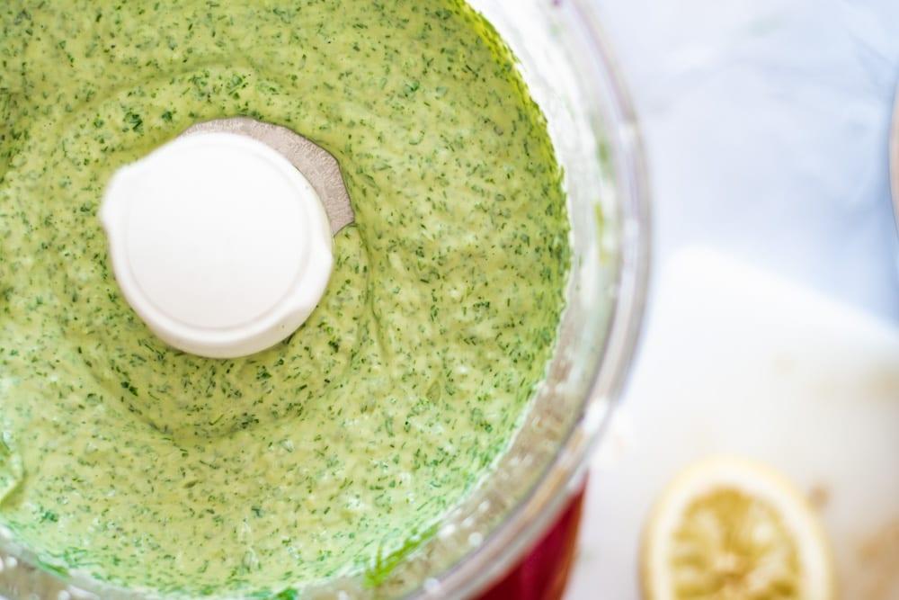 Green Goddess Dressing blended in Food Processor for Green Goddess Pasta Salad