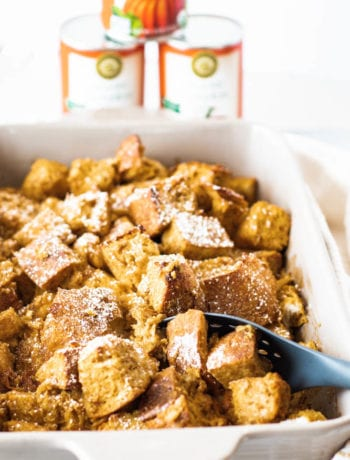 Pumpkin Bread PUdding with pumpkin in the background