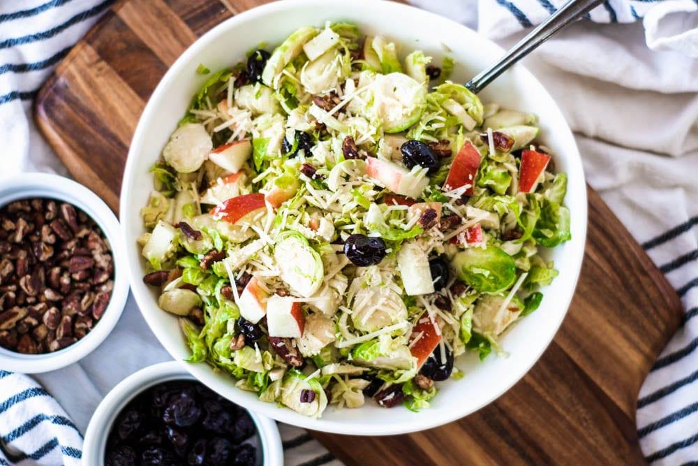 overhead shot of Shredded Brussel Sprout Salad